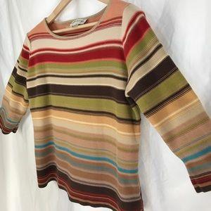 Evan-Picone top, painted desert colors, 3/4 sleeve